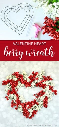 I'm back again with another berry wreath made from dollar store supplies!  This Heart Berry Wreath is perfect for Valentine's Day on your front door or mantel!