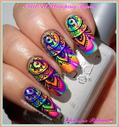 Nail Art Stamping Mania: Water Marble Manicure With Born Pretty – neon nail art Nail Art Designs, Marble Nail Designs, Nail Polish Designs, Gel Polish, Crazy Nail Designs, Rainbow Nails, Neon Nails, Purple Nails, Shellac Nails