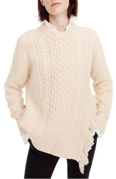 f42f964548f J. Crew Women s Cableknit sweater with fringe  JCrew  Crewneck Cable Knit  Sweaters