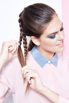 Secure the braids with small elastics.  #refinery29 http://www.refinery29.com/diy-ponytail-hairstyles#slide-4