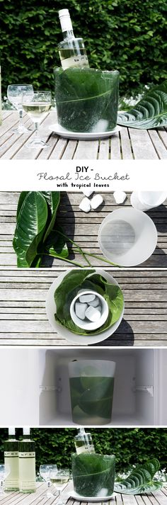 schereleimpapier DIY & Upcycling: Do it yourself Idee Ice Bucket für Wein mit tropischen Blättern - die perfekte Deko für die nächste Gartenparty! Diese tolle Dekoration ist schnell und einfach zu basteln, die Pflanzen im Eis ergeben einen tollen Hingucker! So bleibt der Wein schön kühl und der Tisch ist floral dekoriert. | Anzeige | Weinliebe | Bree Wein | Tropical Design | Ideas | Crafting | how to make an ice bucket | Sommer DIY | summer