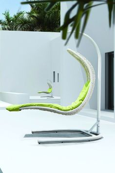 Enclave Wicker Rattan Outdoor Swing Chair - (White/Lime)