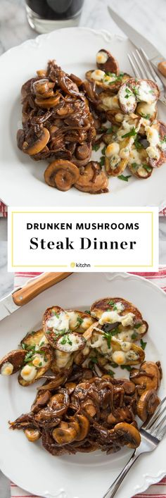 30 minute dinner! Steak with Drunken Mushrooms and Roasted Blue Cheese Potatoes. Beer-soaked mushrooms, caramelized onions, and some fingerling potatoes roasted with blue cheese. This is like a homemade steakhouse dinner that's fancy enough for a date night in or dinner for two, or a quick and EASY weeknight dinner or meal for the whole family! This is comfort food recipes at their finest. Also impressive enough to make for dinner parties or for Valentines / Valentine's Day