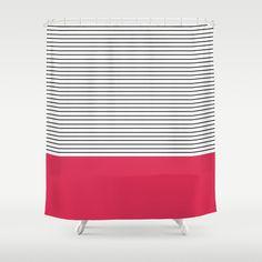 MINIMAL Pink Stripes Shower Curtain