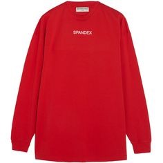Balenciaga Oversized printed stretch-cotton jersey sweatshirt (33200 RSD) ❤ liked on Polyvore featuring tops, hoodies, sweatshirts, sweaters, balenciaga, oversized jersey top, oversized sweatshirt, red jersey and oversized tops