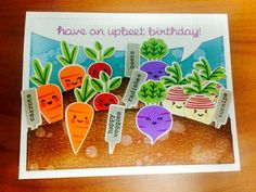 Veggie birthday card. Lawn fawn rooting for you