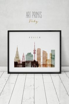 Munich poster, print, Travel, Wall art, Germany watercolour, skyline, City print, Typography art, Home Decor, Digital Print, ArtPrintsVicky by ArtPrintsVicky on Etsy