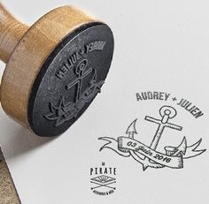 Tampon Mariage Personnalisé Ancre Marine Bannière Vintage avec les prénoms des mariés : Tampons par lapirate