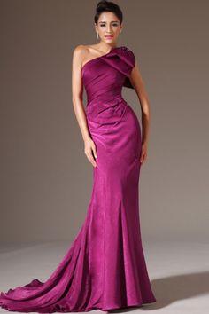 2014 One Shoulder Prom Dress Mermaid/Trumpet With Big Bowkont On The Shoulder