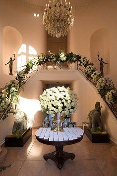 An overflowing arrangement of hydrangeas creates a grand entrance.