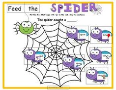 $ Learn s- blends. Feed the flies to the spider while learning initial /sp/ words! This activity is included. In my Articulation Cards and Activities for /sp/ with Min Pairs. more #spider #autumn #Halloween #speech pathology #language #TpT #Teachers pay Teachers #preschool #kindergarten #therapy
