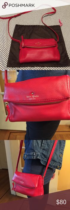 Late spade Kate spate red leather crossbody. Fold over flap with zipper. Adjustable strap. One zipper pocket inside. Like new inside. Dust bag included. No Trade !! kate spade Bags Crossbody Bags