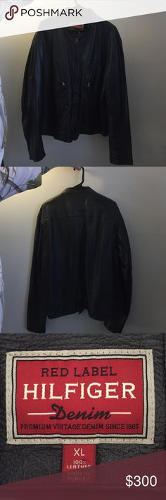 Quality leather Tommy Hilfiger motorcycle jacket XL Tommy Hilfiger motorcycle jacket. Only worn a couple times, in great condition. 2 outside and inside pockets. Leather clean only. Make an offer! Tommy Hilfiger Jackets & Coats
