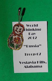 GS Russia SWAP for World Thinking Day - babushka doll. Salt Dough with babushka stamp.