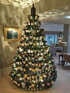 Wine Bottle Christmas Tree...these are the most Creative Tree Ideas!