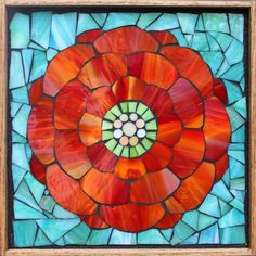 Student Work from a Kasia Mosaics Stained Glass Mosaic Flower Workshop - Mosaic Zinnia by Janice. Sign up for an All Level Class via www.kasiamosaics.com