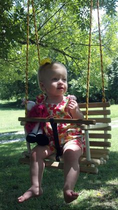 Childs Swing Toddler Swing Handcrafted Wooden Tree Swing - Black & Yellow Rope