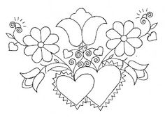 Mania Dziergan(i)a: Haft ze Schwalm Embroidery Hearts, Embroidery Works, Hand Embroidery Patterns, Beaded Embroidery, Beading Patterns, Flower Patterns, Embroidery Stitches, Bordado Popular, Drawn Thread
