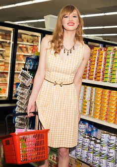 Patio My Goodness! Dress in Lemonade by ModCloth - Mid-length, Cotton, Woven, SF Fit Shop, Spring, Variation, Yellow, White, Checkered / Gingham, Print, Daytime Party, A-line, Sleeveless, Best, Exclusives, Private Label