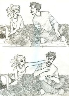 Percy Jackson and Annabeth Chase are picking strawberries. Percy has a strawberry in his mouth in the top picture Percabeth, Art Sketches, Art Drawings, Drawing Art, Burdge Bug, Percy And Annabeth, Annabeth Chase, Cute Couple Drawings, Character Design Cartoon