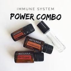 I usually do 15-20 drops On Guard, 10 drops Arborvitae and 5 drops Frankincense. Mix in 10ml roller bottle, top with FCO and apply to bottom of feet or along the spine then rub in. BOOM.