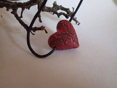 Necklace Polymer clay red heart with black lace by CrazyNature