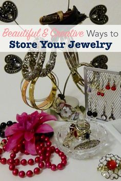 Try these thrifty and creative DIY jewelry storage ideas. They'll keep your pieces organized, and make a pretty display so you can find and wear the pieces you love. Clean Gold Jewelry, Keep Jewelry, Diy Jewelry, Vintage Jewelry, Jewelry Making, Jewellery Storage, Jewelry Organization, Closet Organization, Homemade Jewelry Cleaner