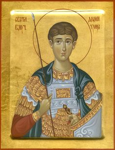 High quality hand-painted Orthodox icon of St Demetrius (Mount Athos). BlessedMart offers Religious icons in old Byzantine, Greek, Russian and Catholic style. Paint Icon, Old Greek, Russian Icons, Orthodox Christianity, Orthodox Icons, Patron Saints, Byzantine, Christian Faith, Catholic