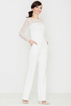 Lenitif Damen Jumpsuits Overall Ecru-Weiss White Long Sleeve Jumpsuit, White Jumpsuit, Lace Sleeves, Fashion Addict, Overalls, Street Style, Stylish, Womens Fashion, Jumpsuits