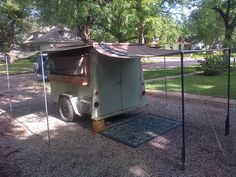 and it comes with it's own patio covers!!!   Vintage Rat Rod 1955 Micro camper Teeny Tiny House on Wheels