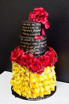 """Beauty and the Beast Inspired Disney Wedding Cake - with """"Tale As Old As Time"""" lyrics written on the side. I like the writing on the cake Gorgeous Cakes, Pretty Cakes, Cute Cakes, Amazing Cakes, Disney Themed Cakes, Disney Cakes, Disney Food, Crazy Cakes, Fancy Cakes"""