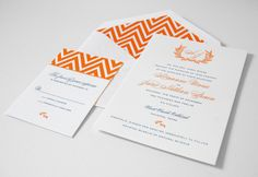 Letterpress wedding invitation suite from real wedding featured on @Style Me Pretty. Wedding invitation features 2-color letterpress, custom monogram and chevron patterned envelope liner and response card in bright orange