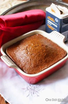 "Gingerbread Recipe - So easy to make and perfect for the holidays. A small batch of sweet, perfectly spiced old fashioned gingerbread. This ""gingerbread for one"" is baked in a small baking dish and is the perfect amount for one or two people. Mug Recipes, Cake Recipes, Dessert Recipes, Recipies, Cooking For One, Meals For One, Small Meals, Batch Cooking, Just Desserts"