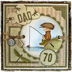 handmade birthday card ... for Dad ... big numbers ... Vintage Boy fishing ... great coloring ... Lily of the Valley ...