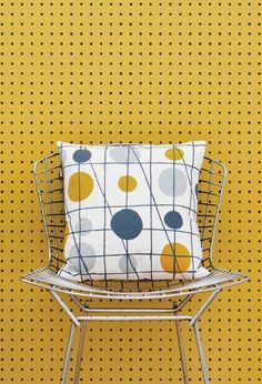 The second design from Mini Moderns 'Hinterland' collection. Inspired by the humble peg board displays from junk shops and hardware stores in the surrounding areas of the Mini Moderns beach. Mustard Wallpaper, Retro Wallpaper, Wallpaper Online, Wall Wallpaper, Wallpaper Designs, Pattern Wallpaper, Decor Photobooth, Textiles, Contemporary Wallpaper