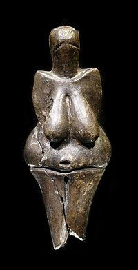 The Venus of Dolní Věstonice (Czech: Věstonická Venuše) is a Venus figurine, a ceramic statuette of a nude female figure dated to 29,000–25,000 BCE (Gravettian industry), which was found at a Paleolithic site in the Moravian basin south of Brno.