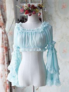 Sweet Black Light Blue Chiffon Lolita Short Blouse Long Hime Sleeves Detachable Sleeves