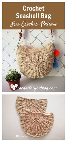 Crochet Handbags Seashell Bag Free Crochet Pattern - The Seashell Bag Free Crochet Pattern is crocheted in the shape of a shell. It looks gorgeous on a white satin dress as well as with casual jeans. Gilet Crochet, Crochet Shell Stitch, Crochet Handbags, Crochet Purses, Crochet Bags, Crochet Gratis, Free Crochet, Crochet Purse Patterns, Knitting Patterns