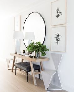 hallway mirror and table alluring round hallway table with best entry mirror ide. hallway mirror and table alluring round hallway table with best entry mirror ideas on front entrance ways hallway mirror table hallway table Flur Design, Home Design, Interior Design, Design Ideas, Design Inspiration, Design Trends, Design Design, Entrance Table, Entry Tables