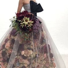 Complete floral dress with flowers on them for brides and bridesmaid Frock Fashion, Gypsy Fashion, Fashion Dresses, Floral Fashion, Floral Dress Design, Brides And Bridesmaids, Unique Dresses, Flower Dresses, Designer Dresses