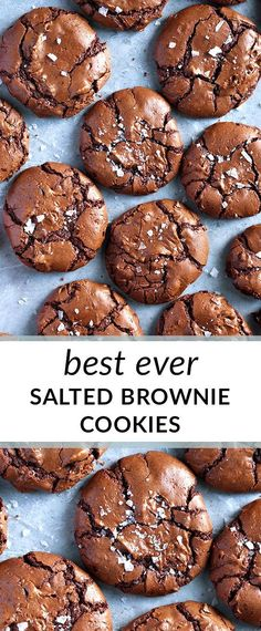 Brownie recipes 78179743520096714 - The BEST salted brownie cookies! With shiny, crackled tops and rich, fudgy centers, these are the ultimate brownie cookies for chocolate lovers. Source by faithingit_com Cookies Cupcake, Cookie Desserts, Yummy Cookies, Chocolate Desserts, Just Desserts, Yummy Treats, Sweet Treats, Yummy Food, Chocolate Lovers