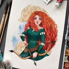 Merida from Disney Pixar's Brave Disney Princess Drawings, Disney Princess Art, Disney Fan Art, Disney Drawings, Punk Princess, Disney Movies, Disney Pixar, Tinkerbell Disney, Disney Villains
