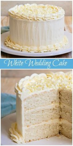 White Wedding Cake Easy White Wedding Cake recipe from via Food Cakes, Best Cake Recipes, Dessert Recipes, Recipes For Cakes, White Cake Recipes, Easy Recipes, Dishes Recipes, Recipies, Red Velvet Cake Rezept