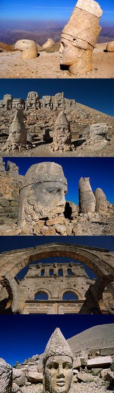 Statues at Mount Nemrut at Turkey. Wikipedia: In 62 BC, King Antiochus I Theos of Commagene built on the mountain top a tomb-sanctuary flanked by huge statues 8–9 m (26–30 ft) high of himself, two lions, two eagles and various Greek, Armenian, and Iranian gods, such as Vahagn-Hercules, Aramazd-Zeus or Oromasdes (associated with the Iranian god Ahura Mazda), Bakht-Tyche, and Mihr-Apollo-Mithras. (Pinned via Kim Jackson)