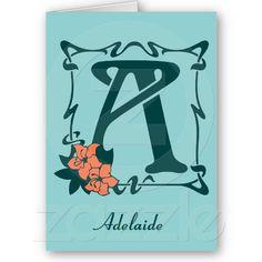 Fancy Art Nouveau letter, monogram, initial A;  customizable template Greeting Card