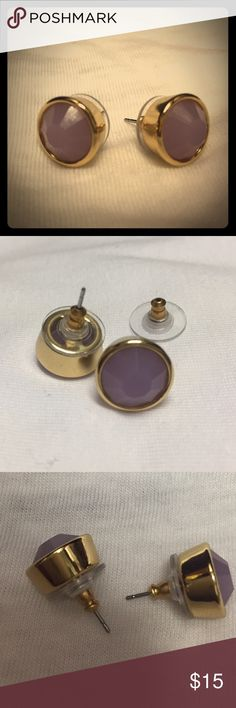 Kate spade round bezel earrings in lilac Beautiful, never worn. Authentic kate spade Jewelry Earrings