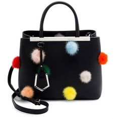 Fendi Petite 2Jours Mink Fur Pom-Pom & Leather Tote (31,560 MXN) ❤ liked on Polyvore featuring bags, handbags, tote bags, leather tote bags, handbags totes, fendi tote, leather man bags and handbag purse