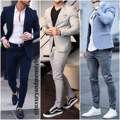 This chic men's outfit is for everyday business. You wear a blue denim shirt together with a fashionable Amaci&Sons jea. Blazer Outfits Men, Mens Fashion Blazer, Stylish Mens Outfits, Suit Fashion, Business Casual Men, Men Casual, Formal Men Outfit, Designer Suits For Men, Mens Clothing Styles