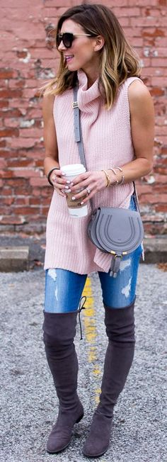 Pink Sleeveless Turtleneck Sweater Fall Street Style Inspo by Cella Jane