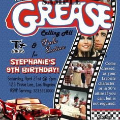 Grease 50s Fifties Sock Hop Dance Birthday Party Invitation - Digit...... | ThePartysOn - Digital Art  on ArtFire